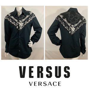 Vtg. Versus Versace Lion Logo Button Down Blouse